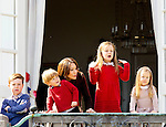 16-04-2014 Balcony 74th birthday of the Danish Queen at Marselisborg Castle in Aarhus.<br /> Princess Mary and Prince Christian and Princess Isabella and Prince Vincent and Princess Josephine.<br /><br /> <br /> Credit: PPE/face to face<br /> - No Rights for Netherlands -