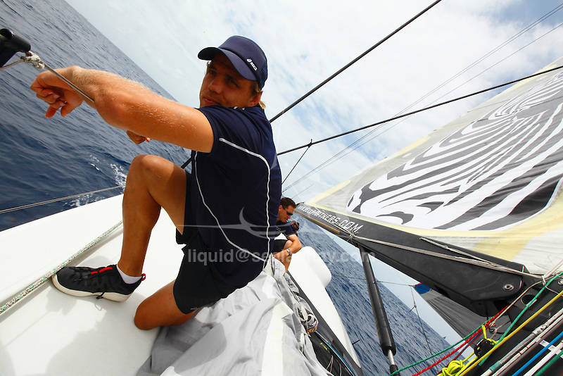 Onboard Loyal at the last day of the Rolex Trophy Rating Series 2009 in Sydney..Sean Langman has returned to big boat racing this year, chartering the 100 foot Greg Elliott design, LOYAL, formerly Maximus. Following its arrival from Auckland the boat underwent an extensive modification program, including lengthening from 98 to 100 feet, new 6.2m keel and new lighter weight and taller conventional mast to replace the wing mast. Joining the experienced crew aboard LOYAL, and raising money for the LOYAL Foundation, will be boxer Danny Green, Olympic swimming sensation Grant Hackett, captain of the HSBC Waratahs Phil Waugh, Phil Kearns, who led the Wallabies in 10 Tests, and Channel 7ís Larry Emdur..The Rolex Trophy, formerly the British Trophy, is sailed out of Sydney in December each year. It is not only a significant lead-up event to the Rolex Sydney Hobart Yacht Race, but a prestigious regatta in its own right..