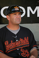 Bill Hasselman, manager of the Bakersfield Blaze, during game against the Lake Elsinore Storm at The Diamond in Lake Elsinore,California on July 25, 2010. Photo by Larry Goren/Four Seam Images