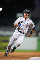 Hudson Valley Renegades designated hitter Jonathan Popadics (6) running the bases during a game against the Batavia Muckdogs on August 1, 2016 at Dwyer Stadium in Batavia, New York.  Hudson Valley defeated Batavia 5-1.  (Mike Janes/Four Seam Images)