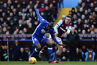 Cheikh Ndoye of Birmingham battles for the ball with Jack Grealish of Aston Villa during the Sky Bet Championship match between Aston Villa and Birmingham City at Villa Park, Birmingham, England on 11 February 2018. Photo by Bradley Collyer/PRiME Media Images.