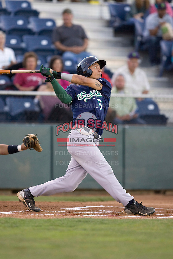 Eugene Emeralds' Jace Peterson #6 takes a swing at a pitch during his first at bat against the Everett AquaSox at Everett Memorial Stadium on August 23, 2011. (Ronnie Allen/Four Seam Images)
