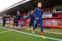 Stevenage players come out of the tunnel to warm up during Stevenage vs Notts County, Sky Bet EFL League 2 Football at the Lamex Stadium on 11th November 2017