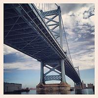 The Ben Franklin Bridge as seen from the Race Street Pier on March 10, 2013.