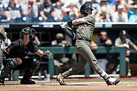 Vanderbilt Commodores catcher Philip Clarke (5) follows through on his swing during Game 3 of the NCAA College World Series against the Louisville Cardinals on June 16, 2019 at TD Ameritrade Park in Omaha, Nebraska. Vanderbilt defeated Louisville 3-1. (Andrew Woolley/Four Seam Images)