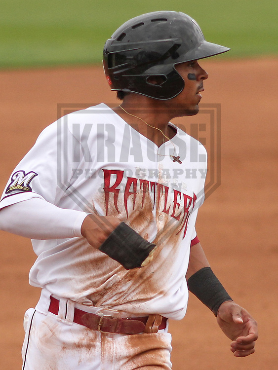 APPLETON - June 2015: Wisconsin Timber Rattlers outfielder Brandon Diaz (5) during a Midwest League baseball game against the Cedar Rapids Kernels on June 30th, 2015 at Fox Cities Stadium in Appleton, Wisconsin. Cedar Rapids defeated Wisconsin 3-2. (Brad Krause/Krause Sports Photography)