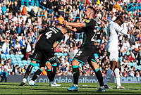 Swansea City's Connor Roberts celebrates on the final whistle<br /> <br /> Photographer Alex Dodd/CameraSport<br /> <br /> The EFL Sky Bet Championship - Leeds United v Swansea City - Saturday 31st August 2019 - Elland Road - Leeds<br /> <br /> World Copyright © 2019 CameraSport. All rights reserved. 43 Linden Ave. Countesthorpe. Leicester. England. LE8 5PG - Tel: +44 (0) 116 277 4147 - admin@camerasport.com - www.camerasport.com