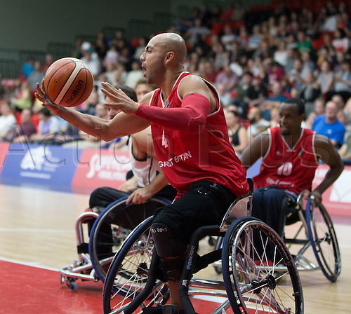 03.07.2016. Leicester Sports Arena, Leicester, England. Continental Clash Wheelchair Basketball, England versus Canada. Gaz Choudhry (GBR) catches the inlet ball
