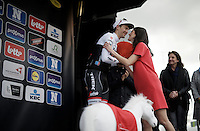 romance on the podium/not just a podium kiss: 3rd placed Edward Theuns (BEL/Trek-Segafredo) & podium girl (and logistical/organisational manager at Flanders Classics) Lien Caproen happen to be partners in real life<br /> <br /> 71st Dwars door Vlaanderen (1.HC)