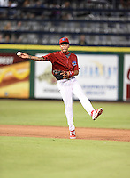 Clearwater Threshers shortstop J.P. Crawford (2) throws to first during a game against the Tampa Yankees on June 26, 2014 at Bright House Field in Clearwater, Florida.  Clearwater defeated Tampa 4-3.  (Mike Janes/Four Seam Images)