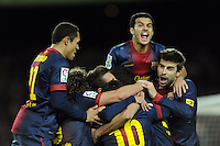 Pedro Rodriguez - Adriano - Gerard Pique ( FC Barcelone ) .Football Calcio 2012/2013.La Liga Spagna.Foto Panoramic / Insidefoto .ITALY ONLY