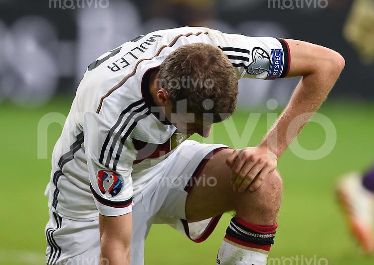 Fussball International EM 2016-Qualifikation  Gruppe D  in Gelsenkirchen 14.10.2014 Deutschland - Irland Thomas Mueller (Deutschland) enttaeuscht