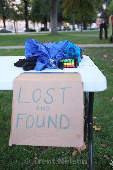 Occupy Salt Lake at Pioneer Park in Salt Lake City, Utah, Thursday, October 6, 2011. lost and found