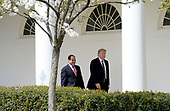 United States President Donald Trump and  President Abdel Fattah Al Sisi of Egypt leave the Oval Office of White House to walk to the Residence  in Washington, DC, April 3, 2017.<br /> Credit: Olivier Douliery / Pool via CNP
