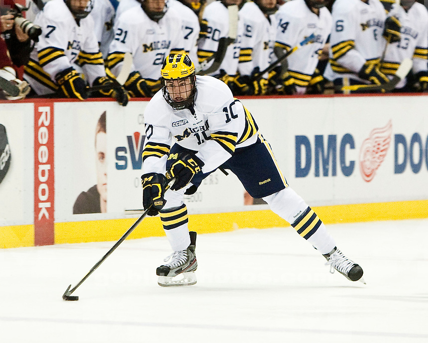 The University of Michigan men's hockey team defeated No. 3 Boston College 4-2 in the  Great Lakes Invitational at Joe Louis Arena in Detroit, Mich., on Dec. 29, 2011.