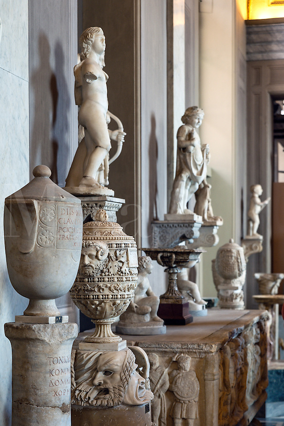 Sculpture and ancient artifacts on display in the Chiaramonti Museum, Vatican Museums, Vatican City, Rome, Italy