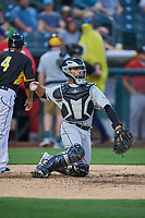 Francisco Mejia (12) of the El Paso Chihuahuas during the game against the Salt Lake Bees at Smith's Ballpark on August 14, 2018 in Salt Lake City, Utah. El Paso defeated Salt Lake 6-3. (Stephen Smith/Four Seam Images)