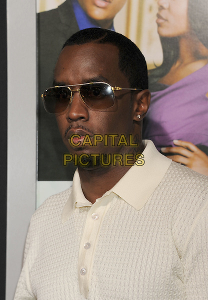 """Sean 'P. Diddy' Combs.arriving at the Los Angeles Premiere of """"Think Like A Man"""" at ArcLight Cinerama Dome in Hollywood, California, USA,.February 9th, 2012. .portrait headshot white shirt  sunglasses  goatee facial hair beard puff daddy puffy .CAP/ROT/TM.©TM/Roth Stock/Capital Pictures"""