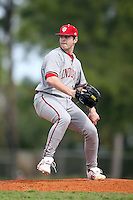 February 22, 2009:  Pitcher Blake Monar (17) of Indiana University during the Big East-Big Ten Challenge at Naimoli Complex in St. Petersburg, FL.  Photo by:  Mike Janes/Four Seam Images