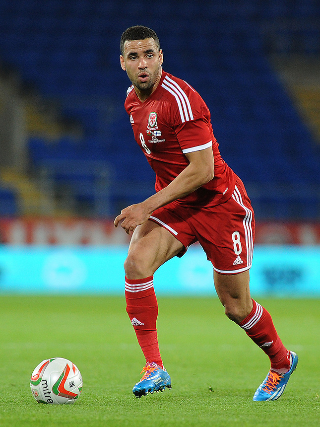 Wales Hal Robson-Kanu in action during todays match  <br /> <br /> Photo by Ashley Crowden/CameraSport<br /> <br /> Football - International Friendly - Wales v Finland - Saturday 16th November 2013 - Cardiff City Stadium - Cardiff<br /> <br /> &copy; CameraSport - 43 Linden Ave. Countesthorpe. Leicester. England. LE8 5PG - Tel: +44 (0) 116 277 4147 - admin@camerasport.com - www.camerasport.com