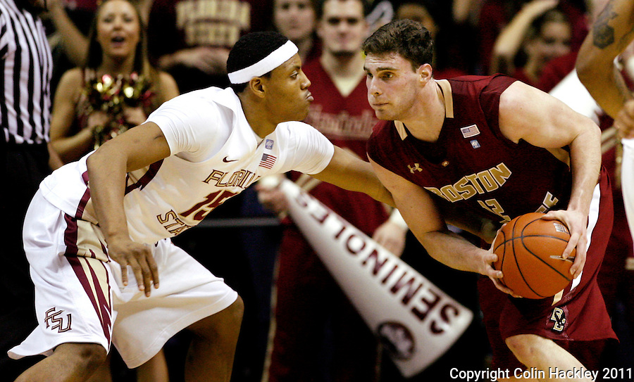 TALLAHASSEE, FL /1/22/11-FSU-BC MBB11 CH-Florida State's Terrance Shannon defends Boston College's Joe Trapani during first half action Saturday at the Donald L. Tucker Center in Tallahassee...COLIN HACKLEY PHOTO