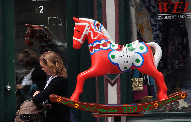 "A view of ""Dala Horse"" created by, Jacqueline L. Vought, one of the ""Rockin' Around Saugerties"" theme Statues on display throughout the Village of Saugerties, NY, on Friday, June 9, 2017. Photo by Jim Peppler. Copyright/Jim Peppler-2017."