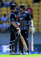 NZ's Jimmy Neesham and Tim Southee. Twenty20 International cricket match between NZ Black Caps and England at Westpac Stadium in Wellington, New Zealand on Sunday, 3 November 2019. Photo: Dave Lintott / lintottphoto.co.nz