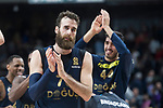 Real Madrid XXX and Fenerbahce Dogus Luigi Datome and Ahmet Duverioglu celebrating the victory during Turkish Airlines Euroleague match between Real Madrid and Fenerbahce Dogus at Wizink Center in Madrid , Spain. March 02, 2018. (ALTERPHOTOS/Borja B.Hojas)