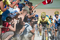 yellow jersey / GC leader Primoz Roglic (SVK/Jumbo-Visma) at the gravel section atop the Montée du plateau des Glières (HC/1390m)<br /> <br /> Stage 18 from Méribel to La Roche-sur-Foron (175km)<br /> <br /> 107th Tour de France 2020 (2.UWT)<br /> (the 'postponed edition' held in september)<br /> <br /> ©kramon