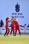 Huang Zhuo (r) of China celebrates with teammates during their ICC 2016 Women's World Cup Asia Qualifier match between Hong Kong and China on 14 October 2016 at Hong Kong Cricket Club in Hong Kong, China. Photo by Marcio Machado / Power Sport Images