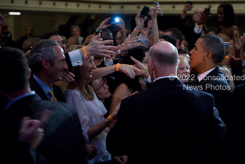 United States President Barack Obama greets the crowd at a DSCC/DCCC event in theRoosevelt Hotel, New York City, New York on Wednesday, September 22, 2010..Credit: Emily Anne Epstein - Pool via CNP
