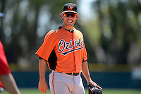 Baltimore Orioles infielder Danny Valencia (35) during a minor league Spring Training game against the Boston Red Sox at Buck O'Neil Complex on March 25, 2013 in Sarasota, Florida.  (Mike Janes/Four Seam Images)