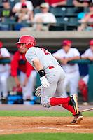 Auburn Doubledays outfielder Rhett Wiseman (2) during a game versus the Lowell Spinners at Lelacheur Park on July 25, 2015 in Lowell, Massachusetts. (Ken Babbitt/Four Seam Images)