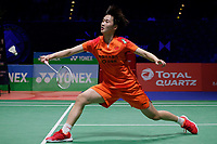 13th March 2020, Arena Birmingham, Birmingham, UK;  Chinas Chen Yufei returns a shot during the womens singles quarterfinal match with Thailands Ratchanok Intanon at the All England Open Badminton Championships in Birmingham