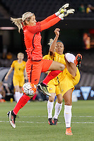 June 7, 2016: KYAH SIMON (17) of Australia kicks the ball during an international friendly match between the Australian Matildas and the New Zealand Football Ferns as part of the teams' preparation for the Rio Olympic Games at Etihad Stadium, Melbourne. Photo Sydney Low