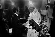 "October 28th, 1966. Hotel Waldorf Astoria, Manhattan, NYC. Charles Aznavour and Maurice Chevalier after his performance at the Show ""April in Paris""."