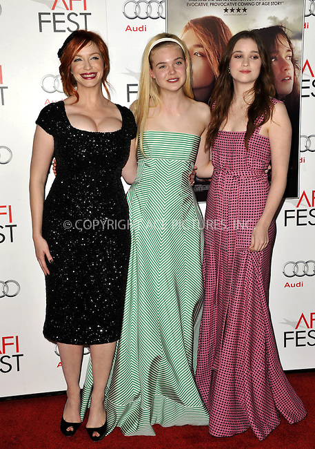 WWW.ACEPIXS.COM....November 7, 2012, Los Angeles, CA.......Christina Hendricks, Elle Fanning, and Alice Englert arriving at the 'Ginger And Rosa' screening at AFI Fest 2012 at Grauman's Chinese Theatre on November 7, 2012 in Hollywood, California........By Line: Peter West/ACE Pictures....ACE Pictures, Inc..Tel: 646 769 0430..Email: info@acepixs.com