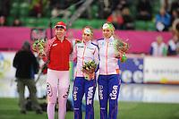 SCHAATSEN: HAMAR: Vikingskipet, 12-01-2014, Essent ISU European Championship Allround, podium 1500m Ladies, Yuliya Skokova (RUS), Ireen Wüst (NED), Yvonne Nauta (NED), ©foto Martin de Jong