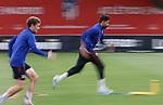 Atletico de Madrid's Kieran Trippier (l) and Diego Costa during training session. May 26,2020.(ALTERPHOTOS/Atletico de Madrid/Pool)