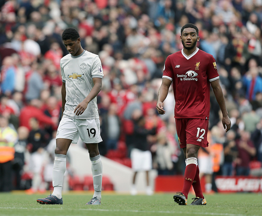 Manchester United's Marcus Rashford (left) and Liverpool's Joe Gomez<br /> <br /> Photographer Rich Linley/CameraSport<br /> <br /> The Premier League - Liverpool v Manchester United - Saturday 14th October 2017 - Anfield - Liverpool<br /> <br /> World Copyright &copy; 2017 CameraSport. All rights reserved. 43 Linden Ave. Countesthorpe. Leicester. England. LE8 5PG - Tel: +44 (0) 116 277 4147 - admin@camerasport.com - www.camerasport.com