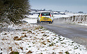 10/02/20<br /> <br /> A Proton rally car takes advantage of the slippery conditions for a spot of testing near Flagg, Derbyshire.<br /> <br /> Snow falls on the Derbyshire Peak District.<br /> <br /> All Rights Reserved: F Stop Press Ltd.  <br /> +44 (0)7765 242650 www.fstoppress.com