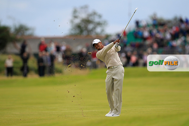 Tiger Woods (USA) plays his 2nd shot on the 14th hole during Thursday's Round 1 of the 141st Open Championship at Royal Lytham & St.Annes, England 19th July 2012 (Photo Eoin Clarke/www.golffile.ie)