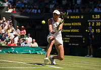Johanna Konta of Great Britain in action during her victory over Donna Vekic of Croatia in their Ladies' Singles Second Round Match today - Konta def Vekic 7-6, 4-6, 10-8<br /> <br /> Photographer Ashley Western/CameraSport<br /> <br /> Wimbledon Lawn Tennis Championships - Day 3 - Wednesday 5th July 2017 -  All England Lawn Tennis and Croquet Club - Wimbledon - London - England<br /> <br /> World Copyright &not;&copy; 2017 CameraSport. All rights reserved. 43 Linden Ave. Countesthorpe. Leicester. England. LE8 5PG - Tel: +44 (0) 116 277 4147 - admin@camerasport.com - www.camerasport.com