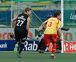 The Hague, Netherlands, June 15: Stephen Jenness #27 of New Zealand in action during the field hockey placement match (Men - Place 7th/8th) between Spain and the Black Sticks of New Zealand on June 15, 2014 during the World Cup 2014 at Kyocera Stadium in The Hague, Netherlands.  Final score after full time 1-1 (0-1). The Black Sticks of New Zealand win the shoot-out 1-4.  (Photo by Dirk Markgraf / www.265-images.com) *** Local caption *** Stephen Jenness #27 of New Zealand, Sergi Enrique #3 of Spain