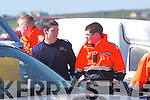 PREPARING: preparing to go out on the seach for missing man were members of civil defence from kerry and dog handler Eddie Mongimer. civil defence members were: Damien Culhane, Niall Brosnan and Brian Carbine..