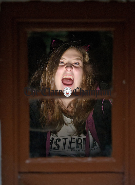 The Scream...Sarah Ryan peers out a window during the Hallowe'en event at Bunratty Castle and Folk Park. Photograph by John Kelly.