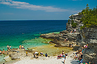 people swimming in Georgian Bay at Indian Head Cove<br />