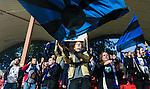 Solna 2014-08-20 Fotboll Svenska Cupen Vasalunds IF - IK Sirius :  <br /> Sirius supportrar jublar efter matchen<br /> (Foto: Kenta J&ouml;nsson) Nyckelord:  Vasalund VIF Skytteholm Sirius IKS Svenska Cupen Cup supporter fans publik supporters jubel gl&auml;dje lycka glad happy