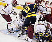 Brendan Silk (BC - 9), Parker Milner (BC - 35), Mike Collins (Merrimack - 13), Colin Sullivan (BC - 2), Isaac MacLeod (BC - 7), Patrick Brown (BC - 23), Vinny Scotti (Merrimack - 25) - The Boston College Eagles defeated the visiting Merrimack College Warriors 4-3 on Friday, November 16, 2012, at Kelley Rink in Conte Forum in Chestnut Hill, Massachusetts.