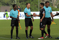 Team Wellington captain Justin Gulley shakes hands with referee Kader Ztouni after the match during the 2018 OFC Champions League Quarterfinal between Team Wellington and Lae City Dwellers FC at David Farrington Park in Wellington, New Zealand on Saturday, 7 April 2018. Photo: Dave Lintott / lintottphoto.co.nz